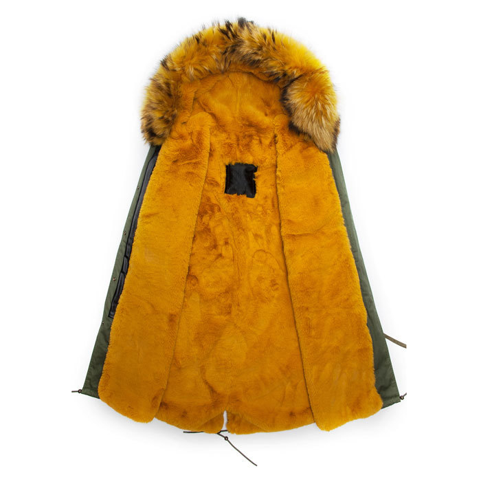 Real yellow furs new parka style fur hood coats men fashion noble wear long army green jacket