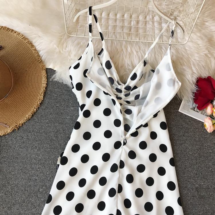 Women Beach Red Dress 2019 Summer New Seaside Holiday Sleeveless Dot Print Casual Vestidos E496 48