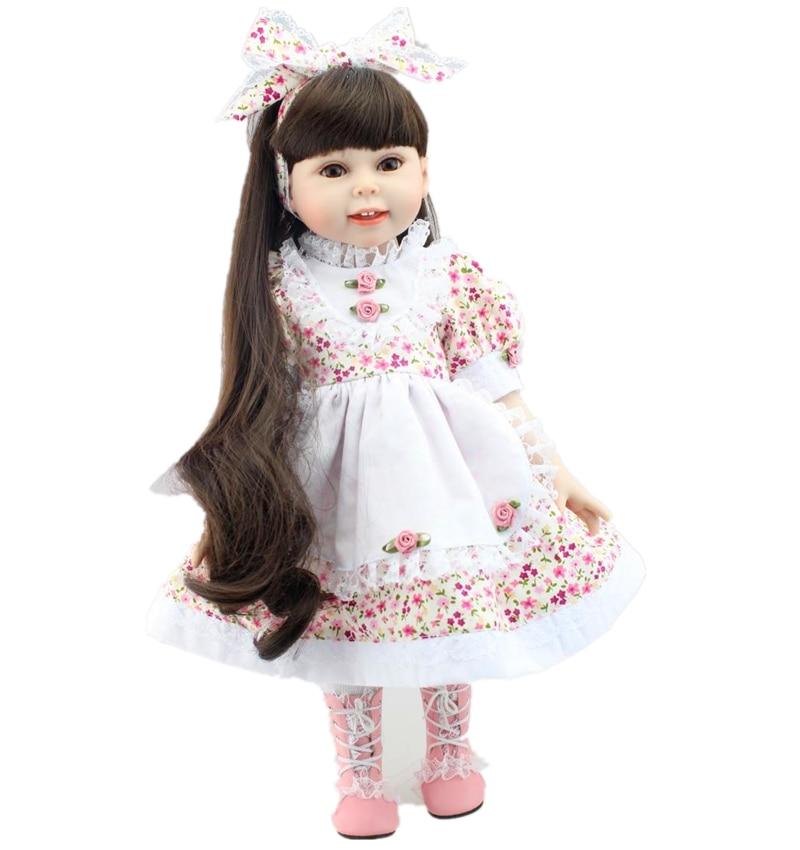 Hot Sale 18 Princess Full Vinyl Baby Girls Dolls Kids Toys for Girl Flower Dress and Dark Brown Long Brown Hair Brinquedos