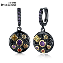 DreamCarnival 1989 nowy nieskończoność 6 Design kamienny sześć kolorów elegancka biżuteria dla kobiet cyrkonia Gothic okrągły spadek kolczyki WE3762