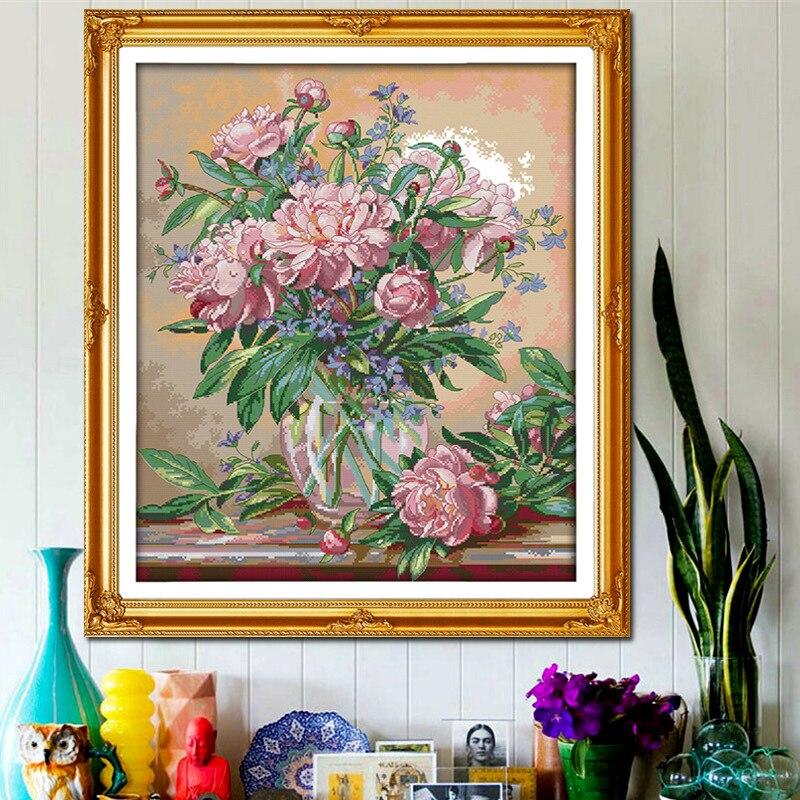 Krásné vázy Bluebells Tištěné plátno DMC Counted DIY Čínské - Umění, řemesla a šití