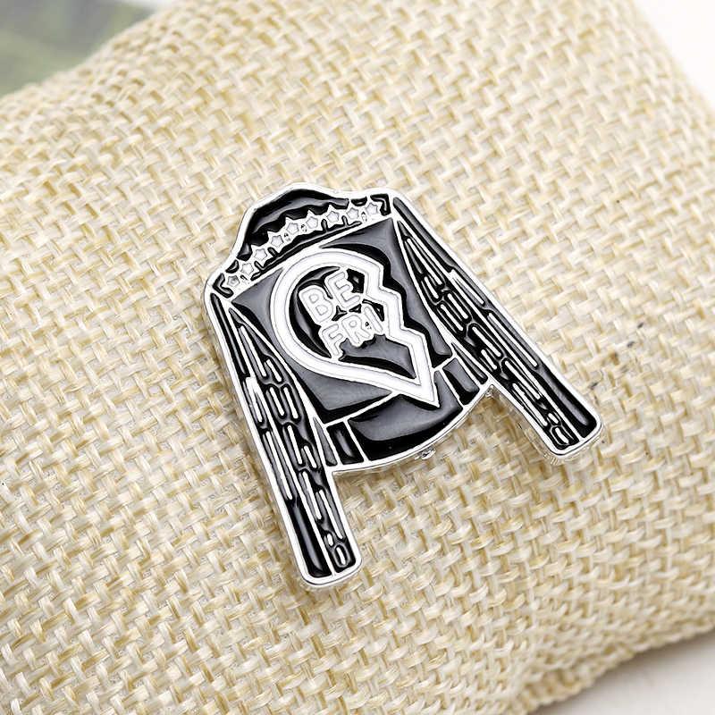 Jaket BestFriend Pin dan Bros Patah Hati 2 Kerah Pin Lencana Enamel Hitam Mantel Bros Hadiah untuk Suster Pin BFF pakaian