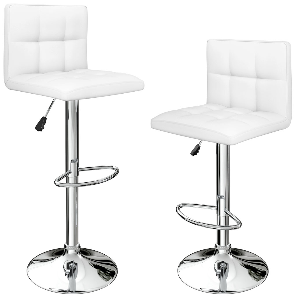 Surprising Us 74 24 25 Off Langria Set Of 2 Gas Lift Height Adjustable Swivel Quilted Faux Leather Bar Stools Chairs With Chromed Base And Footrest Office In Caraccident5 Cool Chair Designs And Ideas Caraccident5Info