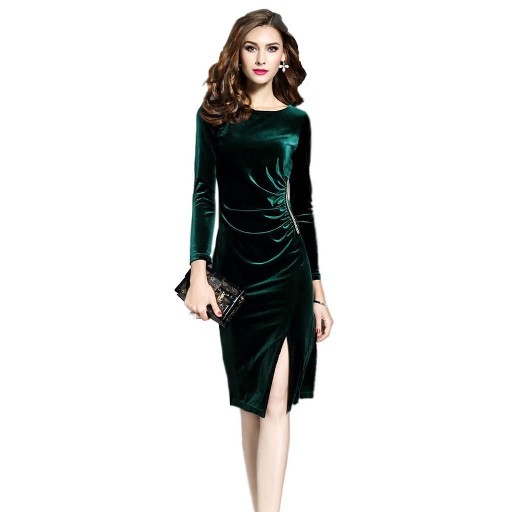 Wholesale Sexy Women Green Velvet Dresses Elegant Slimming Fashion Casual Dress Tunics Robes Party Dress hoodie