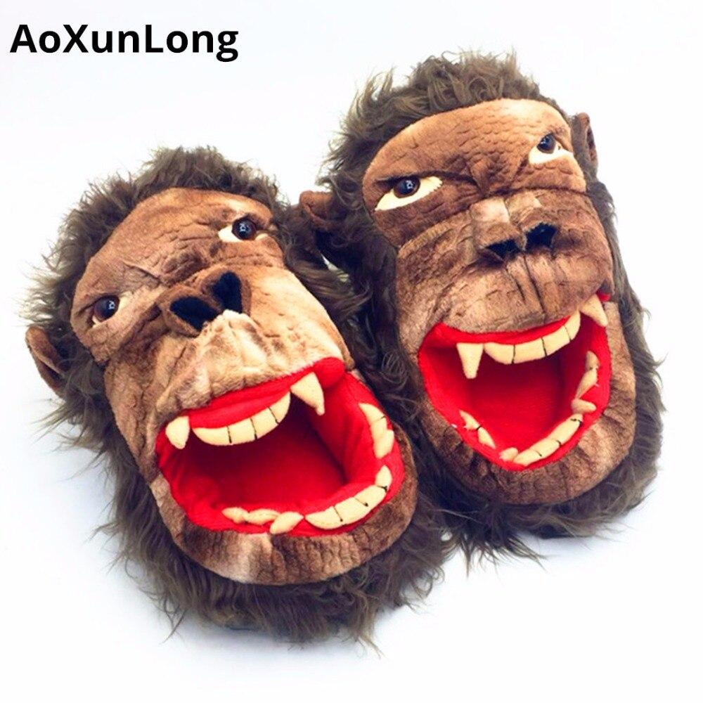 AoXunLong New Winter Warm Men Slippers Lovely Monkey Plush Home Slippers Festival Mischief Unisex Flip Flop Eu 39/44 Mens Shoes