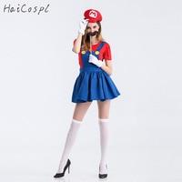 Süper Mario Cosplay Kostüm Kadınlar Seksi Fantezi Elbise Cadılar Bayramı Karnaval Partywear Yeşil Kırmızı Kız Için Kıyafet Yetişkin Karikatür Oyunu COS