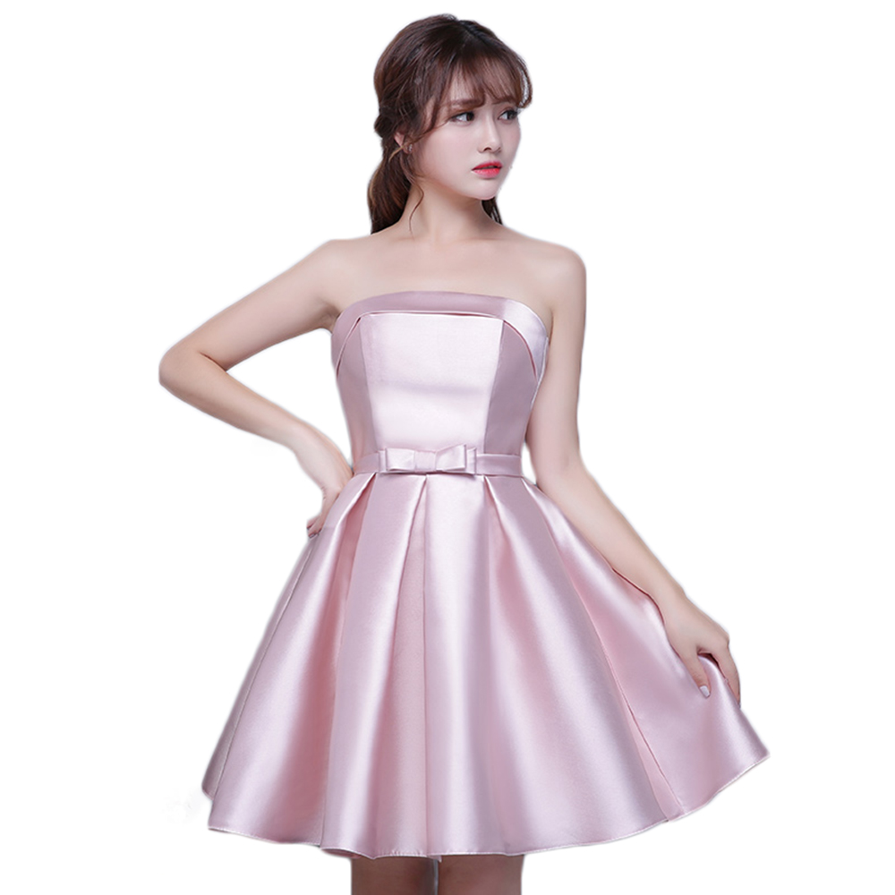 Strapless Satin Cheap Short Bridesmaid Dresses Under 50