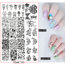 Konad Nail Plates Stamping KadouD2 New Designs Vine Butterfly Ice cream Image Nail Template Manicure Stencil DIY Nail Decoration недорого