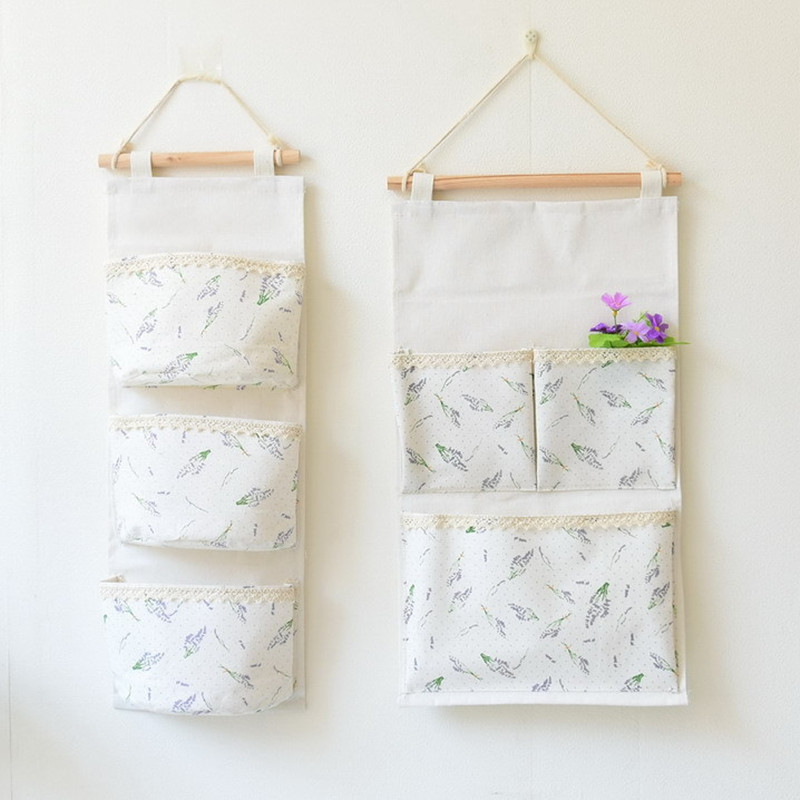 Cotton fabric wall cloth hanging on the wall toilet functional bag organizer organizador home storage bags organization