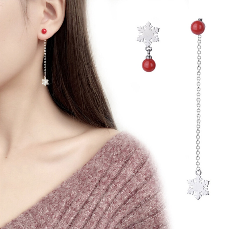 Charms Snow Imitation Pearl Dangle Earring Jewelry Red Beads Drop Earrings For Women Bijoux Fashion Ladies Girl Christmas Gift