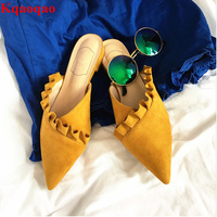 Pointed Toe Women Slipper Low Heel Flock Shoes Sapato Feminino Summer Beach Slides Roman Stylish Superstar