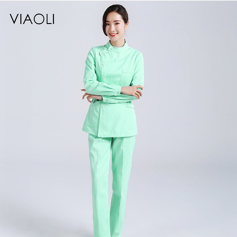 Viaoli Womens Nurse Medical Clothing Hospital Surgical Suits Scrubs Nursing Uniforms Beauty Salon Female Short Sleeve Coat+Pants