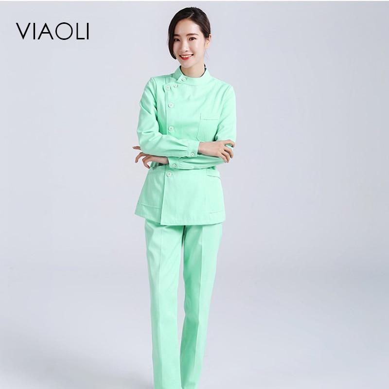Viaoli Womens Nurse Medical Clothing Hospital Surgical Suits Scrubs Nursing Uniforms Beauty Salon Female Short Sleeve Coat+Pants