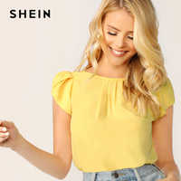 SHEIN Elegant Keyhole Back Petal Sleeve Solid Top Blouse Women Summer 2019 Pleated Front Workwear Office Lady Chiffon Blouses