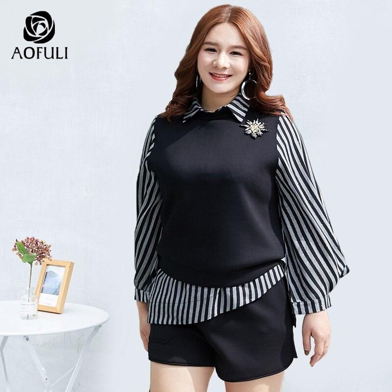 AOFULI L ~ 4XL 5XL asymetryczna zestaw szortów kobiety Plus rozmiar topy i szorty garnitur czarny latarnia rękaw w paski koszulki Twinset A3900 w Zestawy damskie od Odzież damska na  Grupa 1