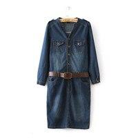 2016 데님 드레스 여성의 봄 새로운 스타일의 더블 포켓 스탠드 칼라 견장 허리띠 긴 소매 티셔츠 드레스 데님