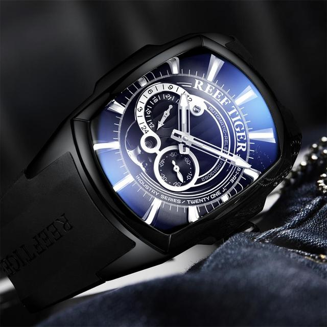 2019 Sports Mens Automatic All Black Rubber Strap Waterproof Watch