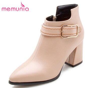 c16ab6d739e31 MEMUNIA 2018 novas ankle boots moda botas de salto alto fivela botas  mulheres outono inverno tamanho grande 32-47