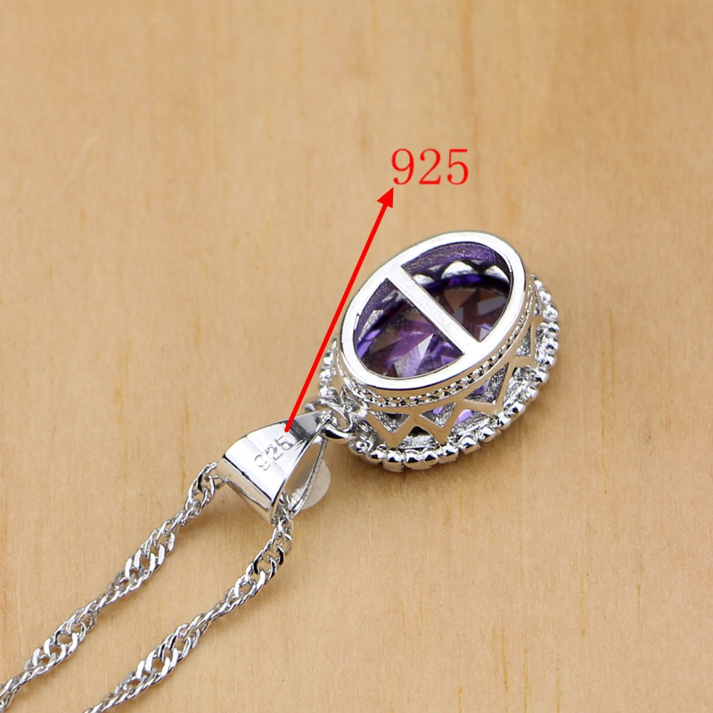 Natural 925 Perhiasan Perak Purple Cubic Zirconia Putih Kristal - Perhiasan fashion - Foto 6