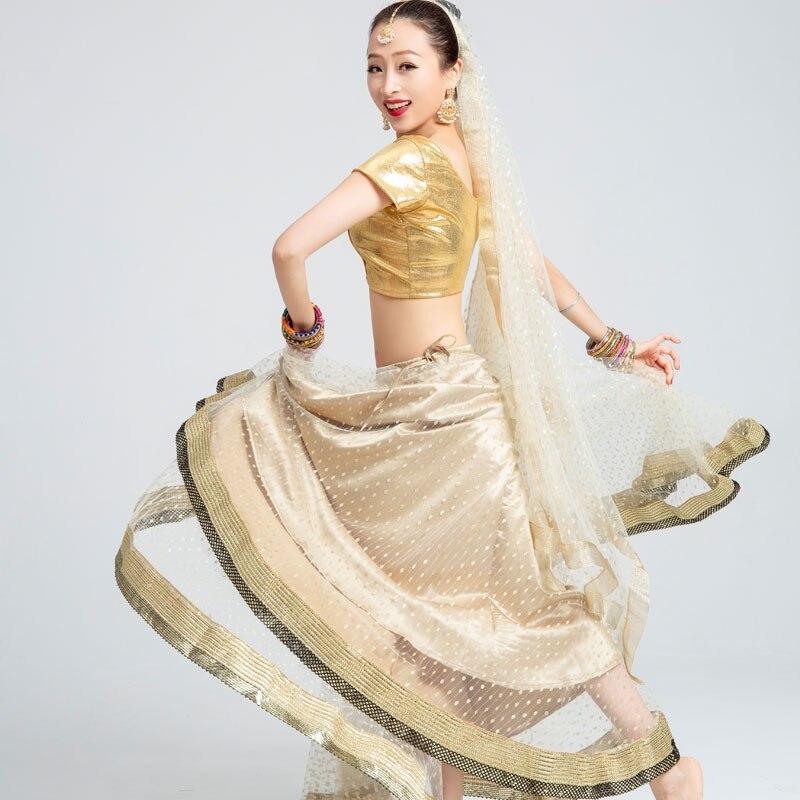 Femmes danse Costume Bollywood Sari Performance 3 pièce ensemble danse orientale Costumes indien Folk danse pratique robe DQL924