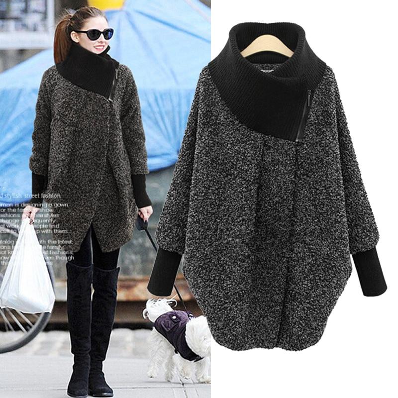 Hodisytian  Winter New Fashion Women Jackets Casual Loose Wool Blends Long Ladies Coat Outerwear For Woman Side Zipper Plus Size