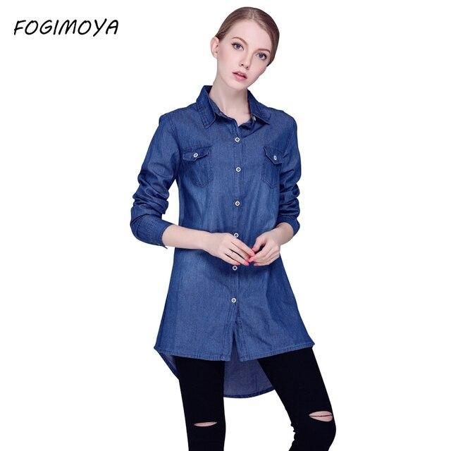Fogimoya джинсы длинные рубашки пальто женщин осень джинсовая рубашка Топы женские 2017 Полный рукавом отложным воротником открыть Стич рубашка