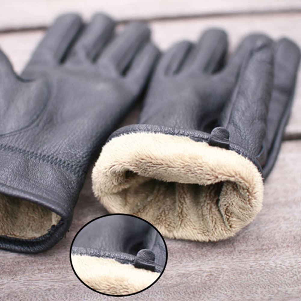 Mens gloves use iphone - 2017 New Fashion Winter Gloves Wool Men Gloves True Leather Gloves Men With Plush Gift For