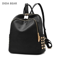 DIDA BEAR Brand Women Leather Backpacks School Bags For Girls Teenagers Travel Rucksack Mochila Candy Color