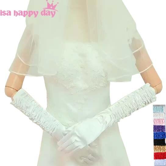 Wedding Accessories 2019 New In Stock Ivory White Black Blue Purple Long Satin Finger Drape Bride Wedding Gloves Bridal Gloves