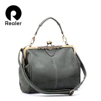 REALER PUレザーレトロ女性メッセンジャーバッグ小さなショルダーバッグ高品質のトートバッグ小さなクラッチハンドバッグСумка