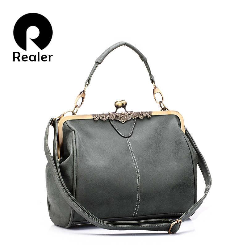 addedb3ef26e REALER сумка женская через плечо из искусственной кожи ретро женские сумки  высокого качества небольшие клатчи Сумки