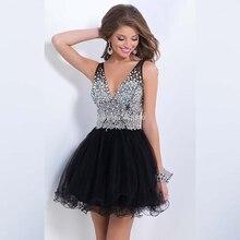 Elegante Vestidos De Festa V-ausschnitt Schwarz Tulle Perlen Kristall Strass Cocktailkleider Mi-Ni Party Kleider CX055