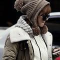 Linda de la manera tres bola de lana bola de lana de tejer lei feng casquillo del oído del otoño invierno cálido sombrero de punto de mezcla de color