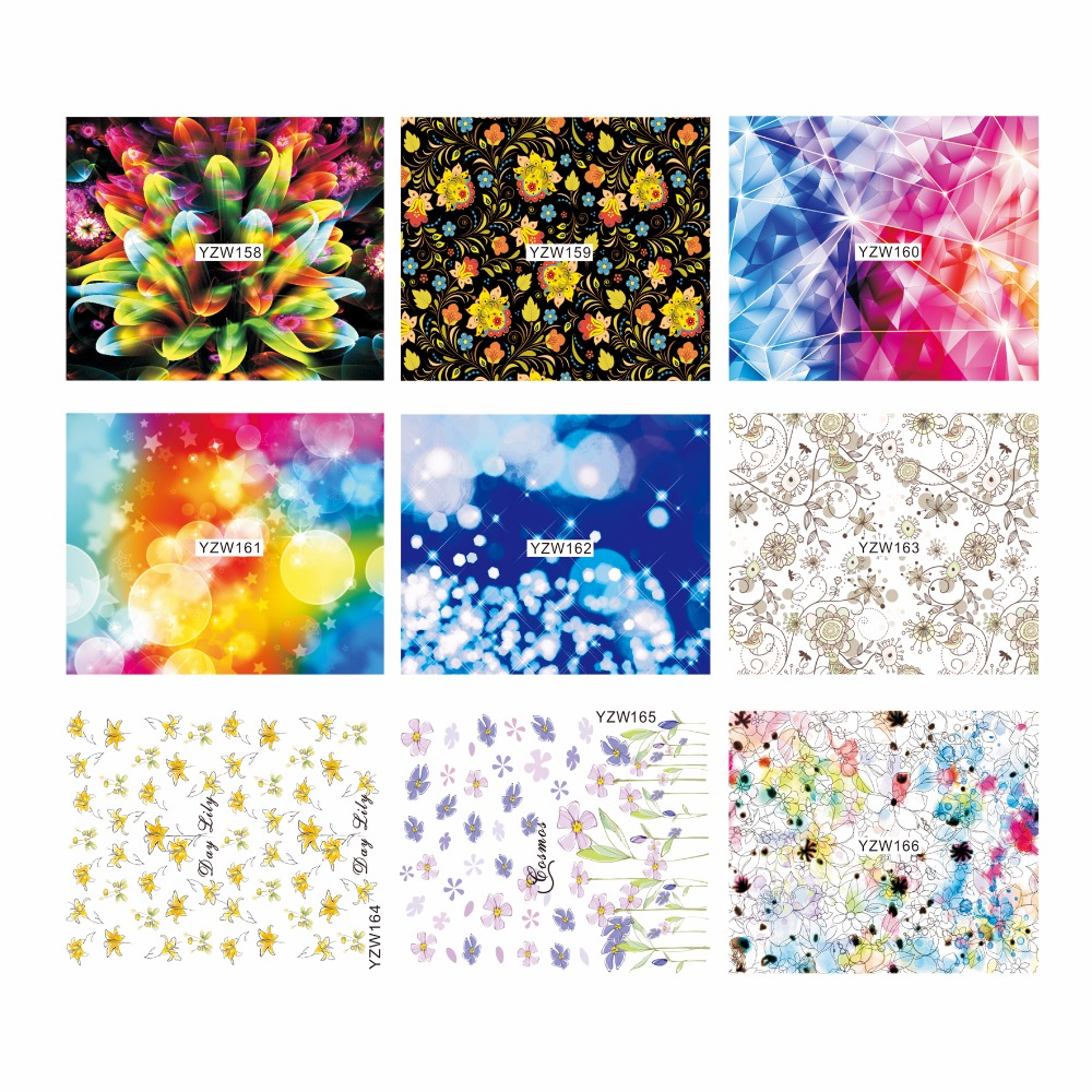 YZWLE 1 Sheet Optional Colorful Flower Pattern Nail Art Water Decals Nails Transfer Stickers DIY