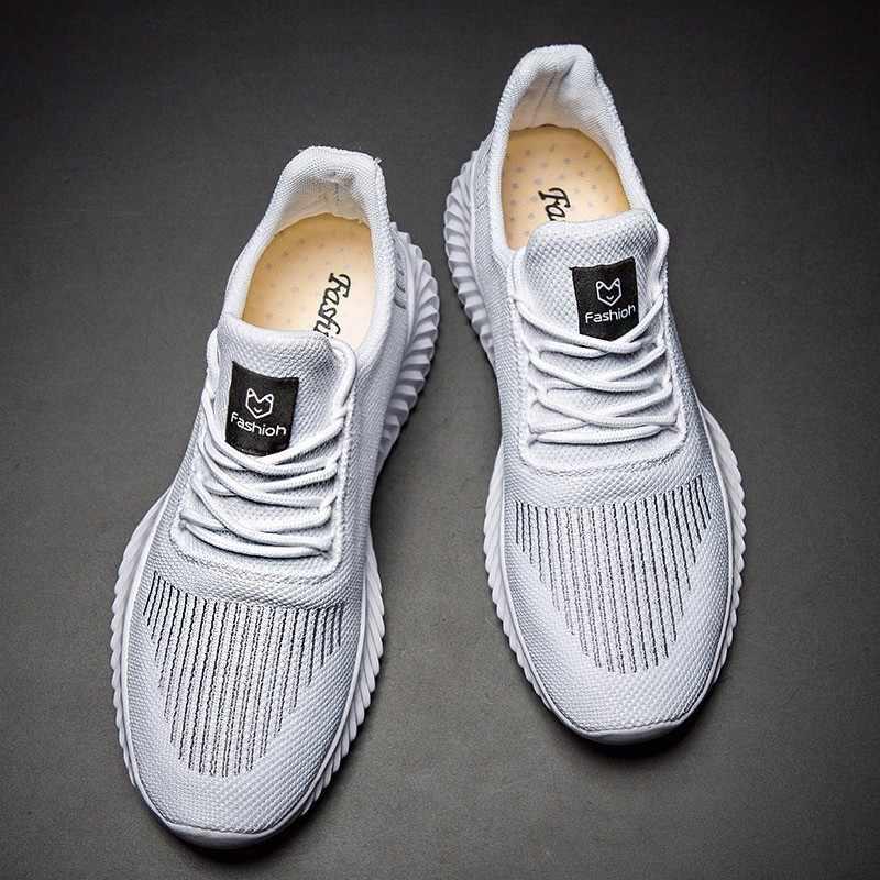 2019 летняя дышащая обувь мужские повседневные модные кроссовки сетчатый светильник Спортивная мужская обувь большой размер 13 47 белый черный