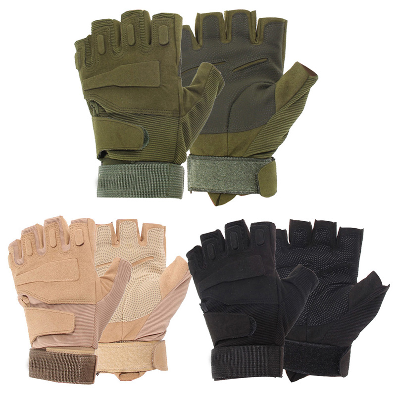 Bike Cycling Gloves Outdoor Tactical Sport Half Finger Glove Hunting Mountaineering Paintball Army Gloves Eldiven ...