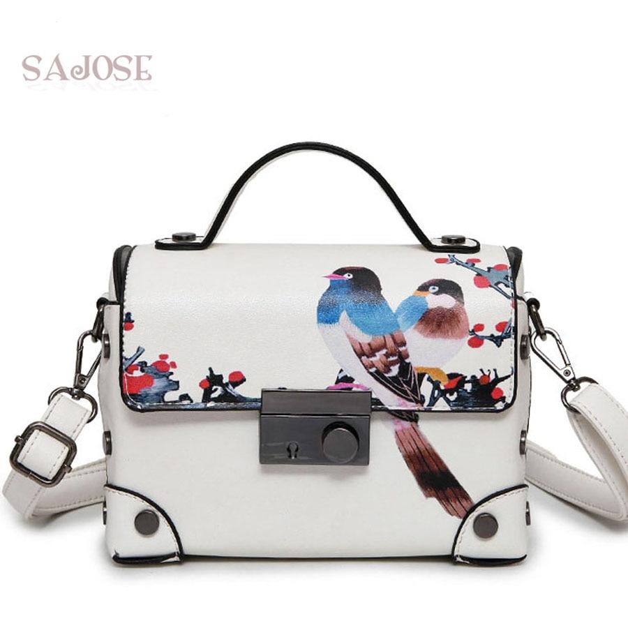 Для женщин кожаная сумка мода Магистральные Ретро Живопись изображением животного белый Для женщин Посланник леди сумка дизайнер sajose