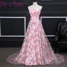 Cheap Long Sweep Train Evening Dress 2017 Luxury Bride Banquet Lace Appliqued Flowers Party Prom Dresses Robe De Soiree Custom