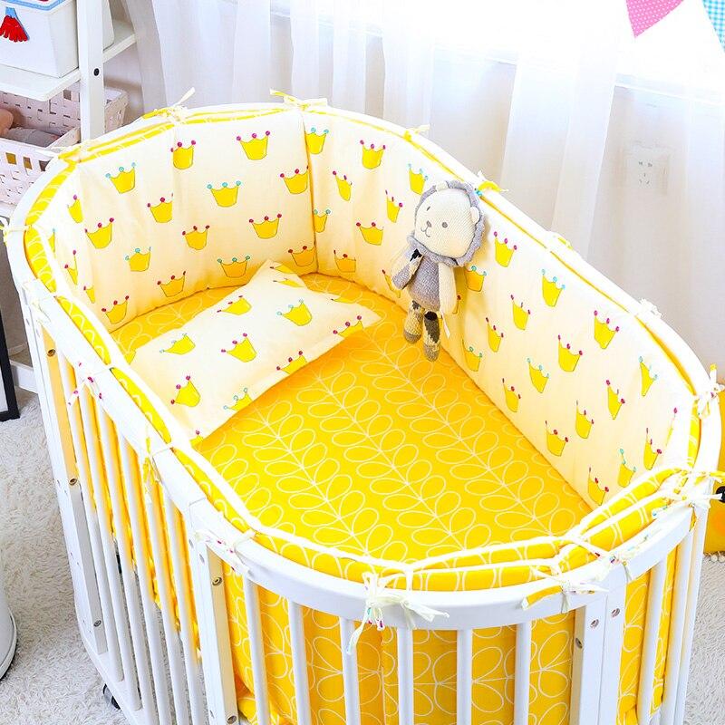 4 шт./компл., детские постельные принадлежности для овальной кровати, колыбель для новорожденных, постельное белье с бамперами, наматрасник,