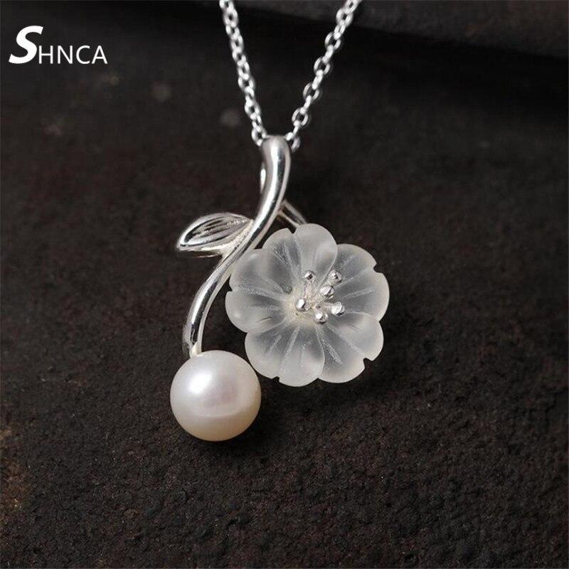 Fine Jewelry Genuine 100% 925 Sterling Silver Crystal Plum Flowers Pearl Choker Necklace Women Sterling-Silver-Jewelry N375
