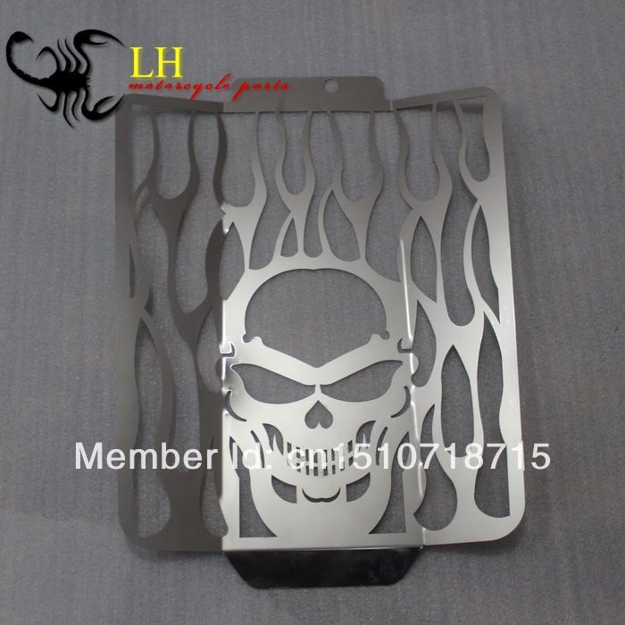 Free Shipping Chrome Skull Flame Radiator Grille Cover Stainless For Suzuki Boulevard M109R sports car door sill scuff plate guard sills for 2014 mazda 6 atenza m6
