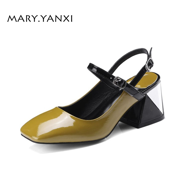 Women Shoes Pumps Mary Janes Genuine Leather Buckle Strap Casual Fashion High Heel Square Toe Shallow Plus Size Metal Decoration new spring fashion brand genuine leather sweet classic high heels women pumps shallow thick heel mary janes lady causal shoes