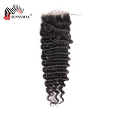 Sunnymay Hair Brazilian Deep Wave Closure Bleached Knots  4X4 Human Hair Lace Closure With Baby Hair Free Part цена 2017