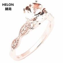 Rắn 14 k Rose Vàng Kim Cương Tự Nhiên Engagement Wedding Ring 6mm Tròn Màu Hồng Morganite Vòng Đồ Trang Sức Mỹ Nữ Millgrain cổ điển