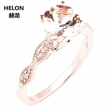 Solid 14 k Rose Goud Natuurlijke Diamanten Engagement Wedding Ring 6mm Ronde Roze Morganite Ring Fijne Sieraden Vrouwen Millgrain vintage
