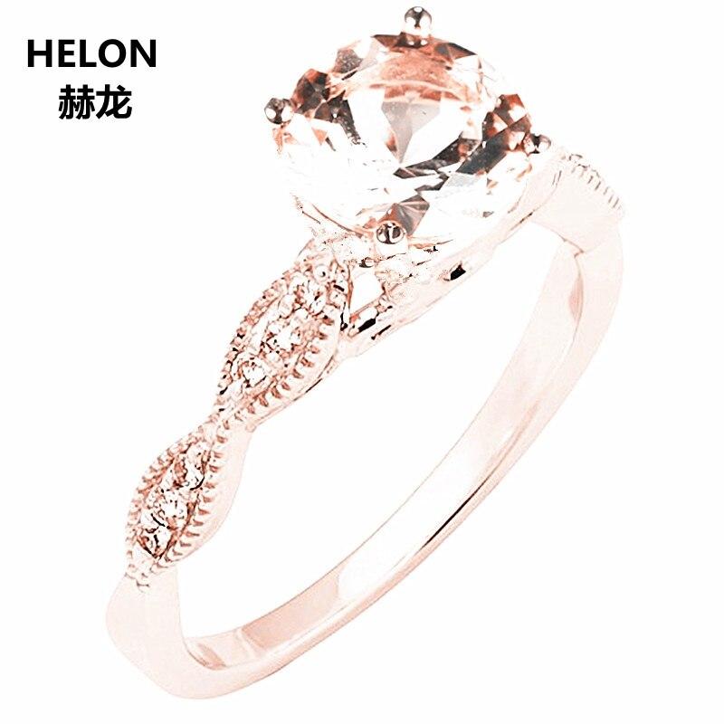Solido 14 k Oro Rosa Naturale Diamanti Cerimonia Nuziale di Aggancio Anello di 6 millimetri Rotonda Rosa Morganite Anello Gioielleria Raffinata Donne Millgrain Vintage