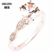 Stałe 14k różowe złoto naturalne diamenty zaręczynowy obrączka 6mm okrągły różowy Morganite pierścień Fine Jewelry kobiety Millgrain Vintage