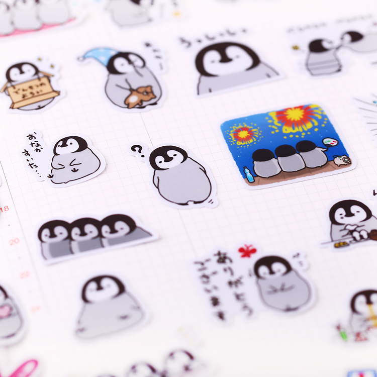 40pcs/pack Cute Handbook Self-made Penguin Stickers  Line Cute Korean Decoration Cartoon Diary Material / Waterproof Stickers