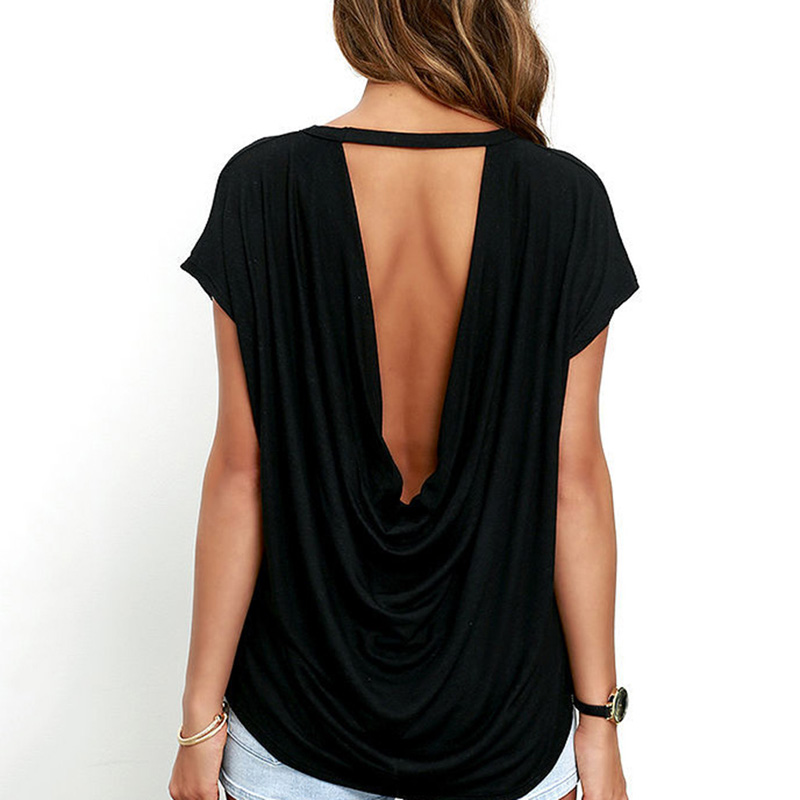 Fashion Open Back T Shirt Women Casual Backless Short Sleeve TShirt Summer Hot Clothing Loose O-neck Tops Tees Black White
