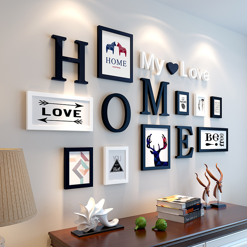 nordic style 9pcs set wooden photo frame picture frame with home letters pattern for wall. Black Bedroom Furniture Sets. Home Design Ideas